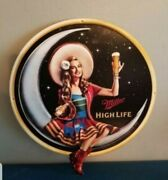 Miller High Life Beer Girl On The Moon With Bottle Tin Back Bar Sign Game Room