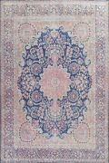 Vintage Floral Kirman Hand-knotted Large Area Rug Evenly Low Pile Oriental 10x13