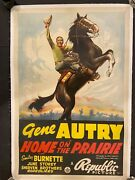 Home On The Prairie '39 Gene Autry Riding Champion Western One Sheet