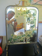 Antique Floral Dressing Table Bevel Vanity Mirror Brass Copper Fireplace Screen