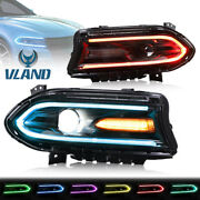 For 2015-20 Dodge Charger R/t Sxt Daytona Led Projector Headlights Multi-color