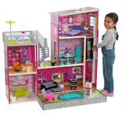 Kidkraft Uptown Wooden Dollhouse With Lights And Sounds, Pool And 36 Accessories