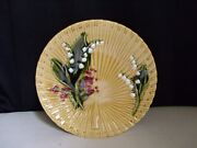 Schramberg Germany Majolica Pottery Lily Of The Valley Fan Weave Gold 9 Plate A