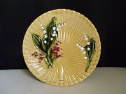Schramberg Germany Majolica Pottery Lily Of The Valley Fan Weave Gold 9 Plate E