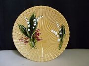 Schramberg Germany Majolica Pottery Lily Of The Valley Fan Weave Gold 9 Plate F