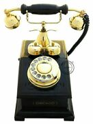 Antique Home Decor Brass Replica Rotary Dial Candlestick Functional Phone Gift