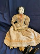 Vintage China Head Doll-21-1890's Style Dress /hand Mirror-looks Victorian-sale