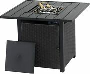 Outdoor 28 Inch Gas Propane Fire Pit Table,40000btu Wicker Rattan Square Table