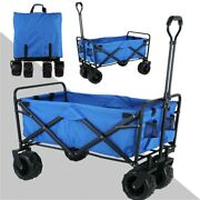 Collapsible Utility Wagon Heavy Duty Garden Pull Cart Shopping Trolley Upgraded