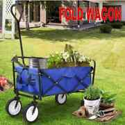 Collapsible Utility Wagon Shopping Trolley Heavy Duty Garden Pull Cart Upgraded