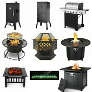 Fire Pit Table/wall/fireplace Smoker Bbq Vertical Charcoal Meat Cooker Outdoorus