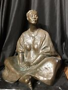"""Francisco Zuniga Large Mexican Bronze Sculpture 'seated Woman' Signed 19"""" Tall"""