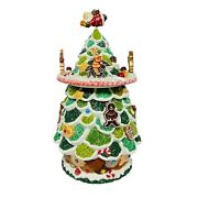Rare Musical Christmas Tree Gingerbread Cookie Jar With Santa Claus Topper Htf