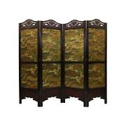 Vintage Antique Style Wood Room Divider Privacy Screen 6ft Tx 6.7ft W - 4 Panel
