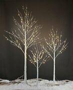 4 Feet 6 Feet And 8 Feet Birch Tree,warm White, For Home,pack Of 4ft+6ft+8ft