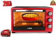 Convection Toaster Oven With Timer,includes Baking Pan,rack And Tray,6-slice,red