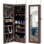 New Mirrored Jewelry Cabinet Armoire Finish Storage Organizer Wall Mounted W/led