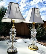 Set Of 2 Waterford Lismore Fine Cut Irish Crystal Table Lamps And Shades - Rare
