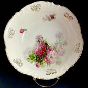Antique Bowl Scalloped Red Flowers Gold Accent 10 3/8 Porcelain
