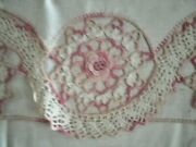 Vintage Pillowcases W/ Wide Hand Crochet. 2 Matching Pair.