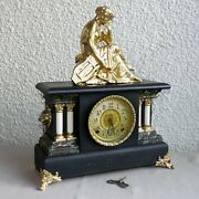 Antique Ingraham 8 Day Mantle Clock Restored And Working