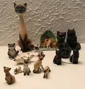 Cat Figurines Lot Collectibles Includes Vintage Bone China And Porcelain Figures