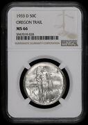 1933 D Oregon Trail Us Old Commemorative Silver Half Dollar Coin Ngc Ms66