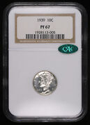 1939 Mercury Silver Proof Dime Coin Ngc Pf67 Cac