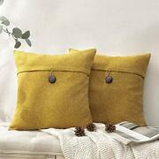 Pack Of 2 Farmhouse Throw Pillow Covers Button 18 X 18-inch Dark Yellow