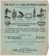 Titan Window Sash Cord And Weight Fastener Hb Ives New Haven Ct Vintage Leaflet