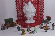 Department 56 Lot Of 4 Heritage Village Collection And Winter Silhouette Santa