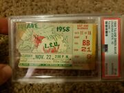 Vintage 1958 Lsu Vs Tulane Football Ticket Psa Authentic Billy Cannon