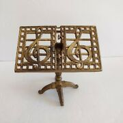 Vintage Small Brass Decor Music Stand With Cleft Note Unsigned