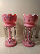 Beautiful Antique 15 Pink Cased Glass Mantle Lusters W Cut Prisms Hand Painted