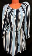 Forever 21 Blue White Striped Long Sleeves Round Neck Flare Dress 0x , 1x