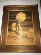 Vintage Hudson River Inlay Wooden Marquetry Sailboat Lighthouse Jeff Nelson 1985