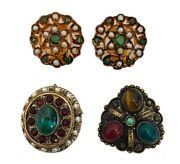Vintage Antique Ethnic Guilt 3 Pc Lot Brooch And Earrings Multi Gemstone And Pearl