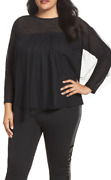 Lost Ink Women Top With Metalic Overlay Jewel Neck Black Size 3x 6836