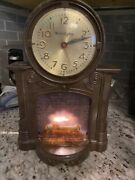 Vintage Mastercrafters Light Up Animated Electric Fireplace Clock