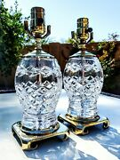 Pair Of 2 Waterford Glandore Fine Cut Crystal Table Lamps - Mint Condition