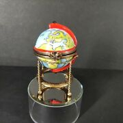Hand Painted French Limoges Box Old-world Globe Bar With 4 Glasses Decanter