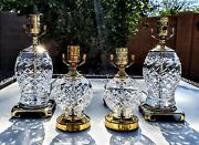 Set Of 4 Waterford Glandore Fine Cut Crystal Lamps - All Absolutely Mint