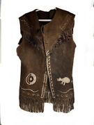 Aunthentic Antique Native American Brown Decorated Leather Fringe Vest