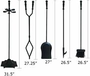 5 Pieces Wrought Iron Fireplace Tools Set - Brush, Shovel, Tong, Poker And Stand