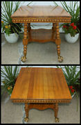 Antique Golden Oak Parlor Entry Great Room Lamp Table Lg Eagle Ball And Claw Feet
