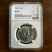 1950 Proof Franklin Half Dollar 50c Ngc Certified Pf 67 Proof Graded Once Pq+++