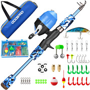 Kids Fishing Rod And Spincast Reel Combo Kit Telescopic Rod Summer Tackle Box