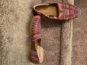 Toms Womens Size 6.5. Slip On Flats. Fabric With Woven Leather Like Material.