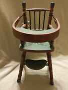 Vintage Folkart Painted Wooden Baby Doll High Chair With Flip Top Tray