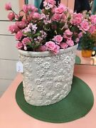 Rare Vintage 1978 Arnel's Waste Basket In White- Dainty Daisy Floral With Bees